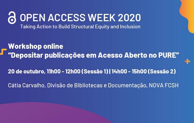 """Workshop online """"Depositar publicações em Acesso Aberto no PURE"""""""